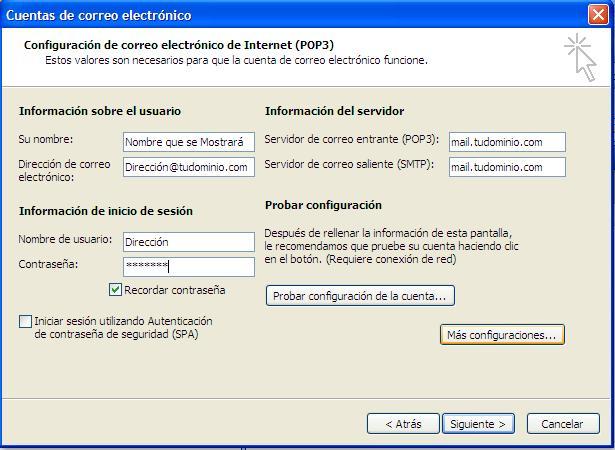 Configurar Cuenta de Correo electrónico